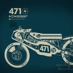 Motorcycle Art: Gianmarco Magnani of Silence Television Motorcycle Posters, Motorcycle Art, Bike Art, Art Moto, Framed Art Prints, Canvas Prints, Technical Illustration, Design Graphique, Automotive Art