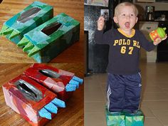 Dinosaur Feet--Hold on to those empty tissue boxes! You can also use egg cartons for the toes.