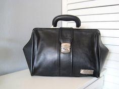 Doctor bag faux leather black bag new handle bag by woolpleasure, $30.00