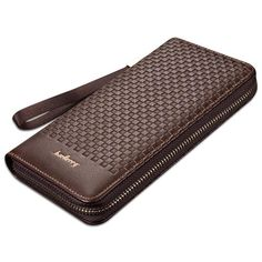 Baellerry Purse Fashion Men's Wallet Male Black Clutch PU Leather Wallets Business Style Long Design Weaving Pattern Purse Man