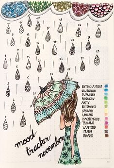 Mood tracker bullet journal id use tgis ine dor april thou because of the rain. Bullet Journal Tracker, Bullet Journal 2019, Bullet Journal Hacks, Bullet Journal Layout, My Journal, Journal Pages, Bullet Journals, Bullet Art, Mood Tracker