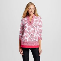 Women's Printed Peasant Top Pink/White - Zac & Rachel