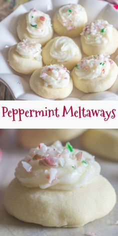 These Peppermint Melting Moments are a perfect addition to your Christmas Cookie. - These Peppermint Melting Moments are a perfect addition to your Christmas Cookie Baking List. Köstliche Desserts, Holiday Desserts, Holiday Baking, Dessert Recipes, Holiday Foods, Holiday Recipes, Christmas Snacks, Christmas Cooking, Christmas Candy