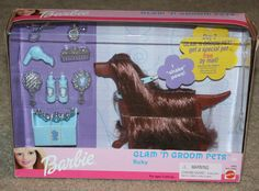 1999 Barbie Glam N' Groom Dog Pets Play Set - Ruby - Mattel - NIB - Rare