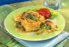 Elegant, easy and exquisite, individual puff pastry shells are filled with a mixture of chicken, broccoli and mushrooms in a creamy Dijon sauce. Try these at your next dinner party.