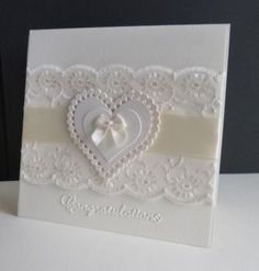 Congratulations Lisa on being crowned Queen this week - you have a delish gallery and I chose this card to case in your honour I used lace instead of an EF and used a larger heart. Enjoy your week in the limelight! Wedding Day Cards, Wedding Shower Cards, Wedding Cards Handmade, Wedding Anniversary Cards, Happy Anniversary, Homemade Wedding Cards, Anniversary Quotes, Wedding Congratulations Card, Karten Diy