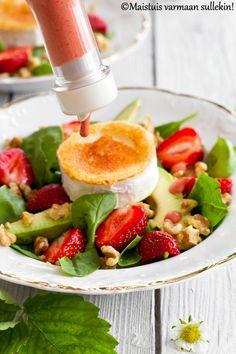 Maistuis varmaan sullekin!: Mansikka-vuohenjuustosalaatti & mansikka-balsamicokastike Ethnic Recipes, Food, Essen, Meals, Yemek, Eten