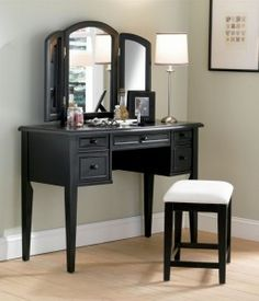 "Vanity, Mirror and Bench in ""Antique Black"" with Sand Through Terra Cotta - Powell Furniture - - Vanity Table Sets Makeup Vanity Furniture, Bedroom Makeup Vanity, Bedroom Vanity Set, Vanity Table Set, Makeup Table Vanity, Vanity Desk, Bedroom Vanities, Wood Vanity, Makeup Vanities"