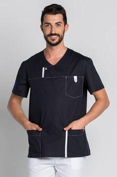 Blouse médicale Moderne Look pour Homme bleu marine Dental Scrubs, Medical Scrubs, Nurse Scrubs, Dental Uniforms, Spa Uniform, Scrub Jackets, Lab Coats, Corporate Wear, Nurse Costume