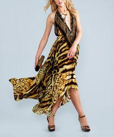 Love this Brown Tiger Silk-Blend Three-Way Convertible Maxi Dress by Parides  on #zulily! #zulilyfinds
