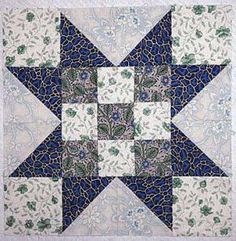 Evening Star Quilt Block with Nine-Patch Centers - Janet Wickell 12""