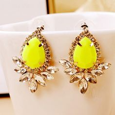 Pair of Vivid Faux Gemstone and Crystal Embellished Flower Shape Earrings For Women
