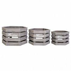 Home Storage Supplies Organiser 3 Pieces Crate Wooden Garden Grey Boxes Kitchen #HomeStorageSupplies