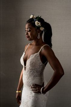low cut bridal dress, lace and beaded wedding dress ideas, wedding ponytail hairstyle with flower crown | alexandria torpedo factory, michelle lindsay photography