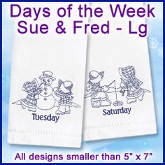 Machine Embroidery Designs at Embroidery Library! - Days of the Week (Redwork and Vintage)