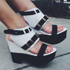 Mixed Media Chunky Platform Heels