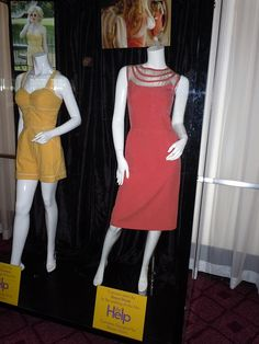 Emma Stone's dress from The Help: coral with a nude mesh yoke with bias strips that swoop down in the back