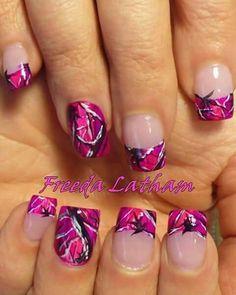 Pink Camo nail art