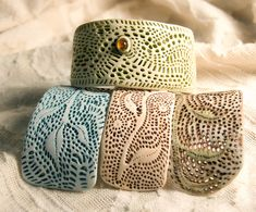 lacy bracelet pieces by SelenaAnne - so love the texture