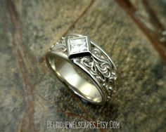 CASCADE White Topaz Solitaire with a tapered by CelticJewelscapes