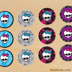 free printable Monster High cupcake toppers for your next Monster High themed birthday party. This free printable includes prints 12 to a sheet in PDF format. Cumple Monster High, Monster High Birthday, Monster High Party, Party Printables, Free Printables, Printable Invitations, Monster High Cupcakes, 9th Birthday Parties, Birthday Ideas