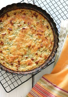 Crust-less Summer Zucchini Pie | Skinnytaste. Need to change the flour to clean it up.