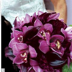 Jacquelyn's bouquet featured deep aubergine mini calla lilies, merlot dahlias, and burgundy cymbidium orchids. Purple Orchid Bouquet, Calla Lillies Bouquet, Purple Calla Lilies, Calla Lily Flowers, Burgundy Bouquet, Purple Orchids, Purple Flowers, Cymbidium Orchids, Boquet