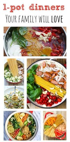 5 One Pot Dinners Your Family Will Love. Love one pot meals! Real Food Recipes, Cooking Recipes, Yummy Food, Healthy Recipes, Tasty, One Pot Dinners, Easy Dinners, Quick Meals, I Love Food