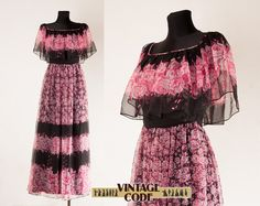 Pink Roses chiffon overlay dress / Pink Black maxi dress / 70s style maxi dress Hostess gown / size small by vintagecode on Etsy https://www.etsy.com/listing/259595357/pink-roses-chiffon-overlay-dress-pink