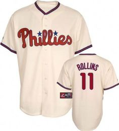 MLB Youth Philadelphia Phillies Jimmy Rollins Ivory Alternate Short Sleeve 6 Button Synthetic Replica Baseball Jersey Spring 2011 --- http://www.pinterest.com.itshot.me/47t