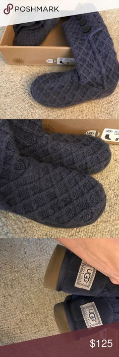 Ugg lattice carry boots So cute but I hardly wear them so time for them to go to new home. Ugg Shoes, Winter Rain, Fashion Tips, Fashion Design, Fashion Trends, Rain Boots, Uggs, Times, Navy