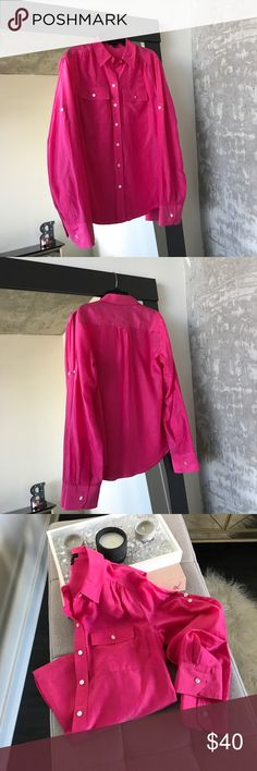 Ann Taylor Silk Button Down Top Camp Shirt Gorgeous Ann Taylor Button Down top. Camp blouse. Color is truest to photo #1. Just love this Summer pink! Lightweight and looks perfect with white! Dress it up for work or down for a girls lunch. Size 2. True to size. See vendor photo #2 for styling. Ann Taylor Tops Button Down Shirts