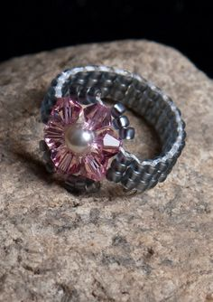 Petals and Pearl size 6 1/2 - Ring - Beaded Pearl Ring