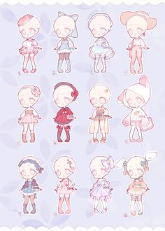 Set Price Outfits 6 (Closed) by Lyime on DeviantArt Chibi Girl Drawings, Anime Drawings Sketches, Cute Drawings, Cartoon Art Styles, Cute Art Styles, Drawing Anime Clothes, Manga Clothes, Cute Anime Chibi, Fashion Design Drawings