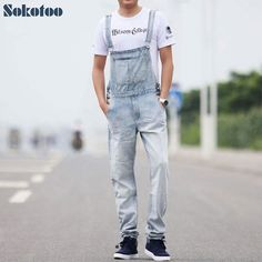 45.9$  Know more - Sokotoo Men's casual overalls Thin denim jumpsuits Plus size loose vintage blue white jeans   #magazineonline