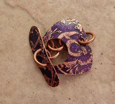 Etched Copper Toggle Clasp Violet Lace Pattern .875 by MetalMeThis, $14.00