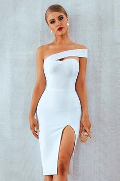 Adyce White Bodycon Bandage Dress Women Vestidos 2019 Summer Sexy Elegant Black One Shoulder Midi Celebrity Runway Party Dresses Sexy Dresses, Short Dresses, Party Dresses, Bandage Dresses, Midi Dresses, Dress Party, Occasion Dresses, Casual Dresses, Winter Dresses