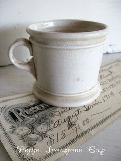 Sweet Magnolias Farm Vintage Finds ~ Antique Ironstone Cup ~ Petite Size ~ Crazed and Patina'd to perfection ! ~ SOLD to a Good Home ..