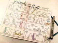 Colección libros para leer  All day project of combining my #goodreadschallenge with my #bulletjournal. My goal each year is to read 100 books. (Yes, I count children's chapter books!) I will write the title and color in the books as I finish them.  Calligraphy stamp from #concordand9th. #stampingaway2016 #bujo #threesixfiveprojects #goodreads