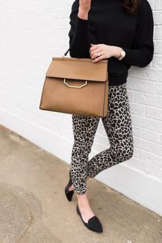 Topshop Leopard  Ankle Pants from Nordstrom // Fall Outfit idea // Style blogger Fashion And Frills // Black Flats // Calf Hair Handbag