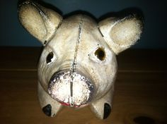 50% off Saturday, January 12, 2013 - Ruby Lane - Cast Iron Pig Bank Doorstop Glass Eyes
