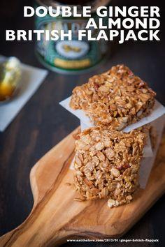 Double Ginger Almond British Flapjack - Eat The Love Oat Bars, Granola Bars, Flapjack Recipe, Fall Desserts, Baking Recipes, Baking Ideas, Sweet Recipes, Almond, Sweet Treats