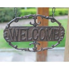 Cast Iron Vintage Wall Bracket/Welcome Sign Wall Brackets, Home Wall Decor, Vintage Walls, Wall Sconces, Cast Iron, Indoor, Sign, Living Room, Antiques