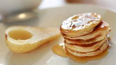 Peanut butter pikelets with poached pear.