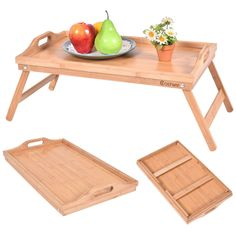 Portable Bamboo Breakfast Bed Tray Serving Laptop Table Folding Leg w/ Handle #Unbranded