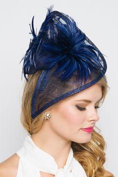 "Victoria Fascinator"" - Navy Blue"