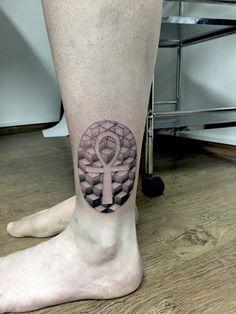 geometric dotwork ank tattoo pattern