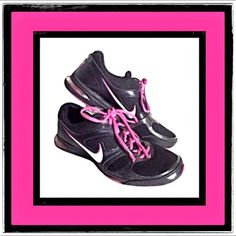 Nike Airs Hot Pink Black Sneakers Size 7 Nike air propel pink and black size 7 women's athletic sneakers. Still in good condition. Fit true to size. Nike Shoes Athletic Shoes