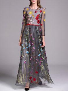 Серый Цветочный вышитая длинным рукавом вечернее платье с поясом