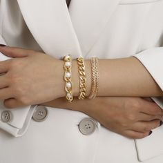 Jewelry metal hip-hop tide style chain wild bracelet creative chain inlaid pearl bracelet NHXR189707
